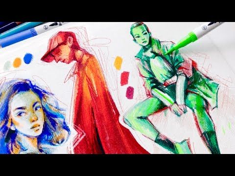 Drawing FACES & FIGURES + Tips on COLOR | Ohuhu Markers, Pencils + Pens 1