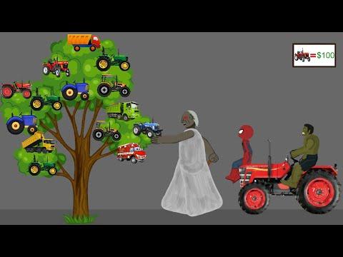 Granny vs Spiderman vs Hulk Tractor Tree Funny Animations - Drawing Cartoon 2 1