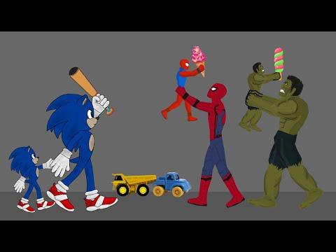 Sonic vs Spiderman, Hulk Funny Animation - Drawing Cartoon 2 1