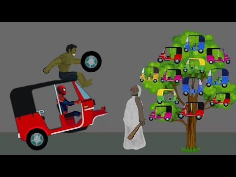 Granny vs Spiderman, Hulk Rickshaw Tree Funny Animation #2 - Drawing Cartoons 2 1