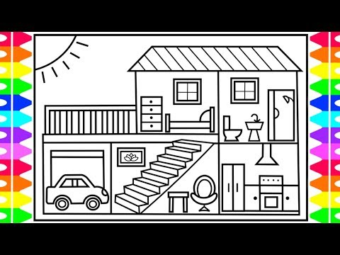 How to Draw a House for Kids 💚💙💜 House Drawing for Kids   House Coloring Pages for Kids 1