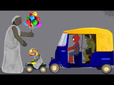 Granny vs Spiderman, hulk Rickshaw Funny Animation Part 9 - Drawing Cartoons 2 1