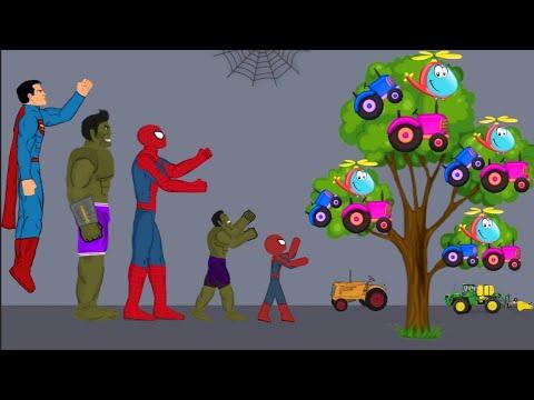 Spider man vs Superman , Hulk Tractor Tree Funny Animation - DRAWING CARTOON 2 1