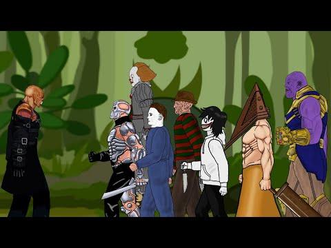 Nemesis Thanos vs Pyramid Head, Jason, Michael, Pennywise, Freddy Drawing Cartoon 2 1