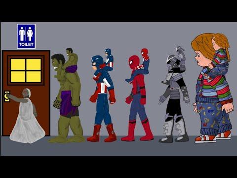 Granny vs Spiderman, Hulk Toilet Funny Animation - Drawing Cartoons 2 1