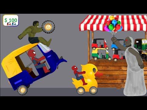 Granny vs Spiderman, Hulk Rickshaw Funny Animation Part 17 - Drawing Cartoons 2 1